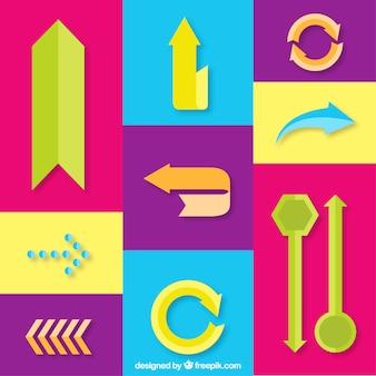 Variedade de setas coloridas no design plano