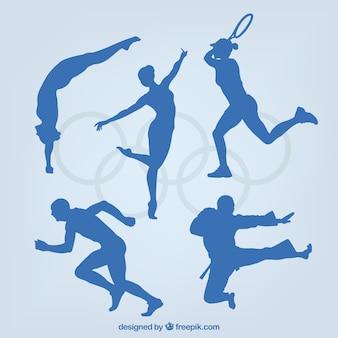 Variedade de silhuetas desportivo