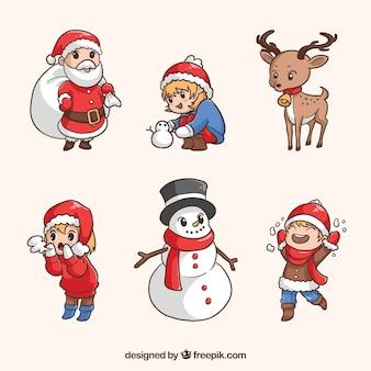 Variedade desenhada a mão de personagens de natal