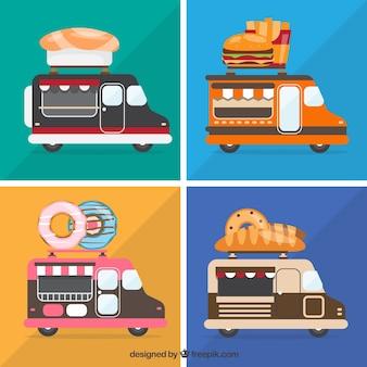 Variedade divertida de caminhões de alimentos modernos