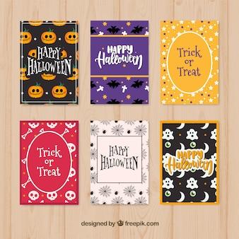Variedade moderna de cartões de halloween
