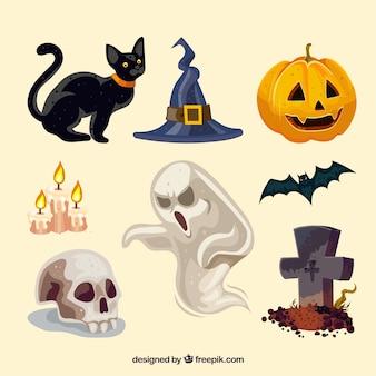Variedade moderna de elementos de Halloween