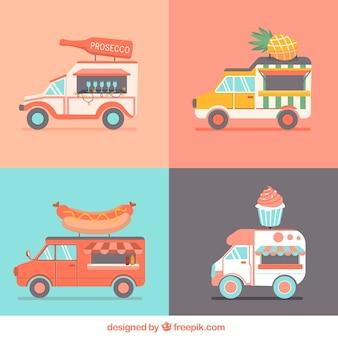 Variedade plana de caminhões de comida
