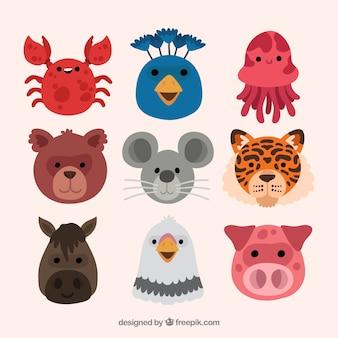 Variedade plana de caras de animais sorrisos
