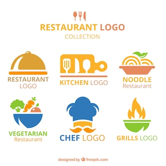 Variedade plana de logotipos de restaurantes coloridos