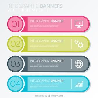 Variedade plana de quatro banners infográficos coloridos