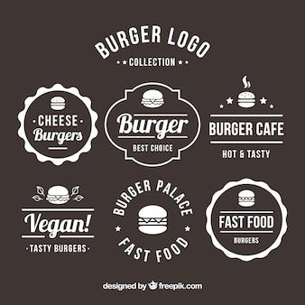 Variedade, plano, hamburger, logotipos