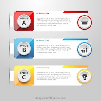 Variedade realista de banners infográfico