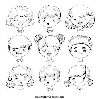 Variedade rosto infantil expressivos