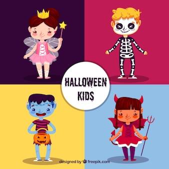 Vários adoráveis personagens de Halloween