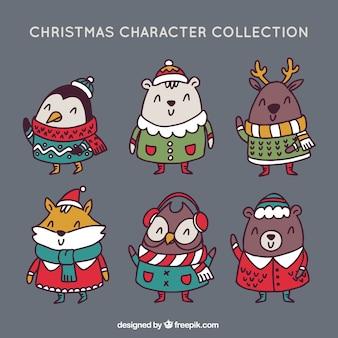 Vários animais vestindo desenhado à mão roupa do Natal