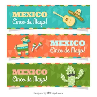 Vários banners cinco de mayo com elementos planos