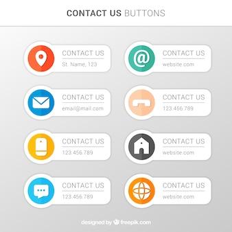 Vários botões de contacto no design plano