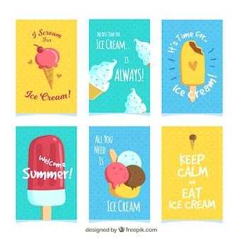 Vários cartões coloridos com sorvete e mensagens