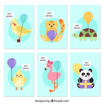 Vários cartões de aniversário com bons animais