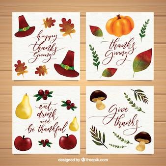 Vários cartões de aquarela de ação de graças