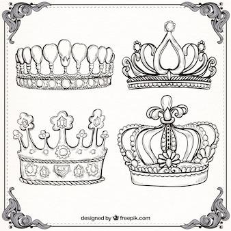 Varios coroas de luxo em estilo desenhado à mão