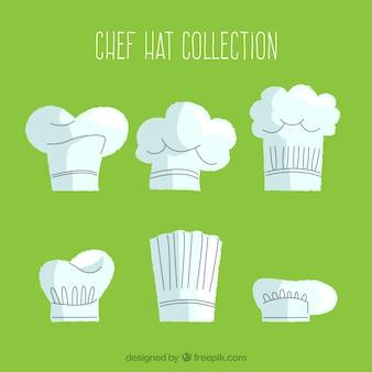 Vários, cozinheiro, chapéus, liso, desenho