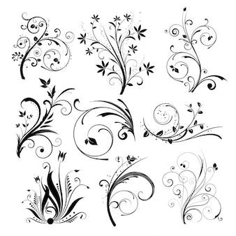 Vários desenhos florais diferentes