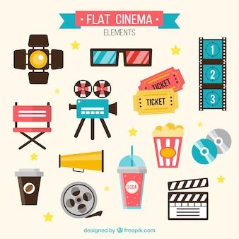 Vários elementos audiovisuais planas
