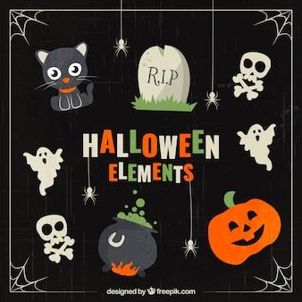 Vários elementos bonitos do dia das bruxas