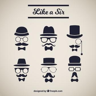 Vários elementos com elegante bigode estilo