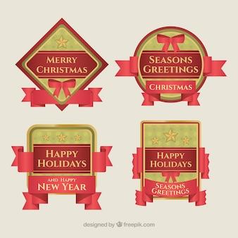 Vários emblemas de natal feliz