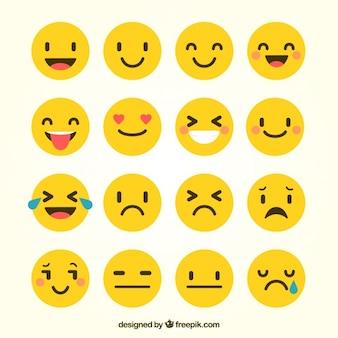 Vários emoticons em estilo plano