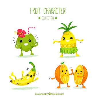 Vários, fruta, personagens, aguarela, estilo