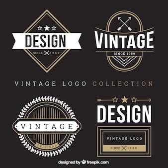 Vários logotipos do vintage com detalhes brancos