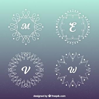 Vários monogramas com formas geométricas
