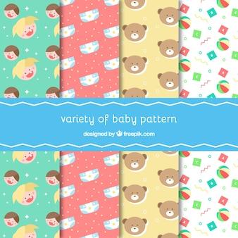Vários padrões com elementos do bebê