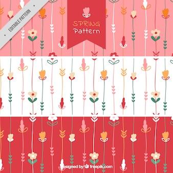 Vários padrões da mola com flores desenhadas à mão