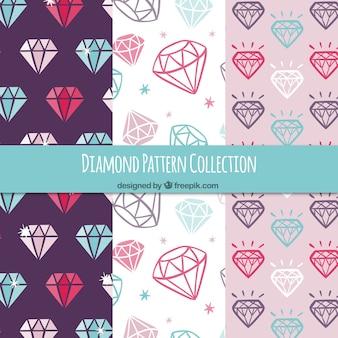 Vários padrões de diamantes coloridos