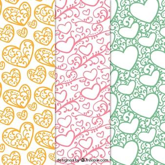 Vários padrões ornamentais de corações