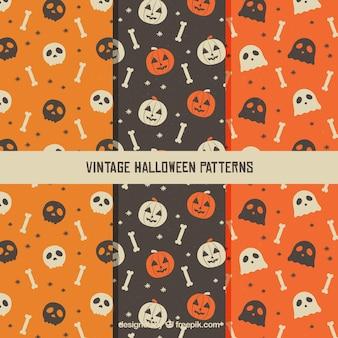 Vários padrões vintage com elementos do Dia das Bruxas