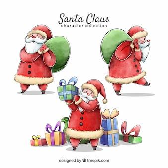 Vários personagens de aquarela Papai Noel