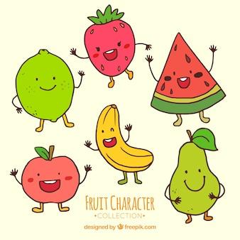 Vários personagens de frutas engraçadas