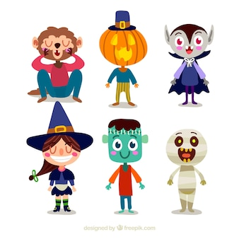 Vários personagens engraçados de Halloween