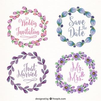 Vários quadros de casamento com flores bonitas