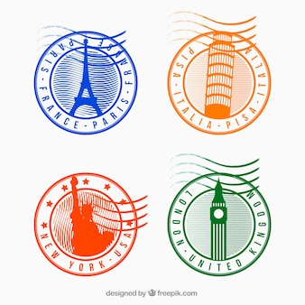 Vários selos de cidade redondos com cores diferentes
