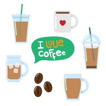 Vários vetores de café