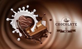 Vector 3D salpicos de chocolate derretido e leite com pedaço de chocolate e barraca de chocolate