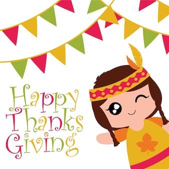 Vector a ilustração dos desenhos animados com a menina indiana fofa está piscando e sorrindo em bandeiras coloridas adequadas para o design de cartão de ação de graças feliz, etiqueta de agradecimentos e papel de parede imprimível