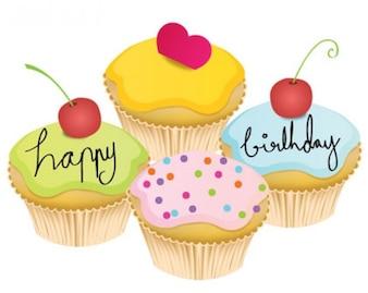 vector bolo de aniversário adorável
