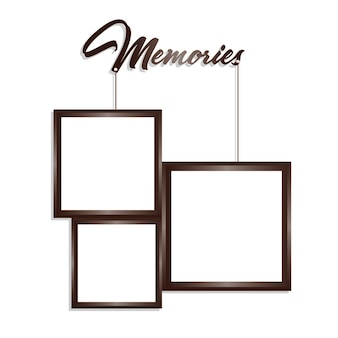 Vector Brown and White Rectangle Frames de suspensão