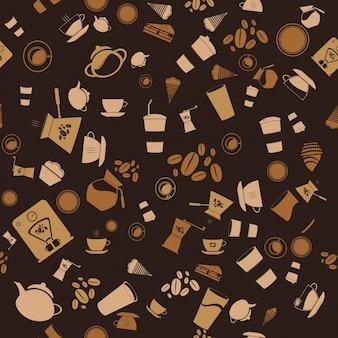 Vector café sem costura. ícone do padrão de fundo