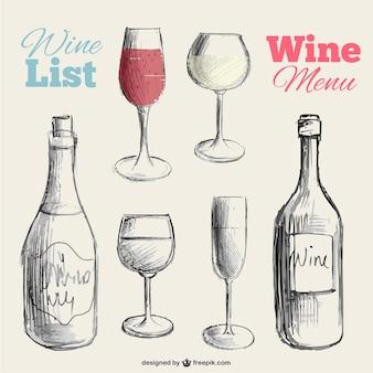 Vector carta de vinhos desenhado à mão