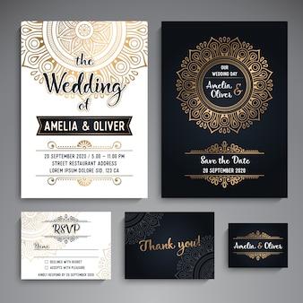 Vector, casório, cartões, vindima, decorativo, elementos, com, mandala