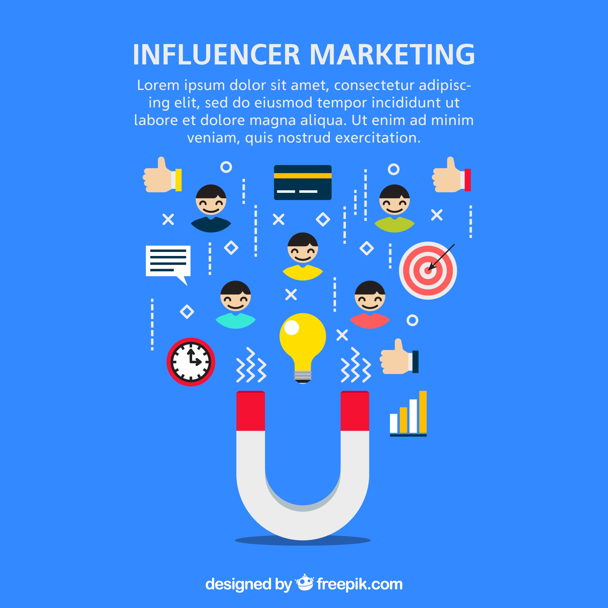 Vector de marketing Influencer com ímã e símbolos
